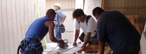 Students working on construction project