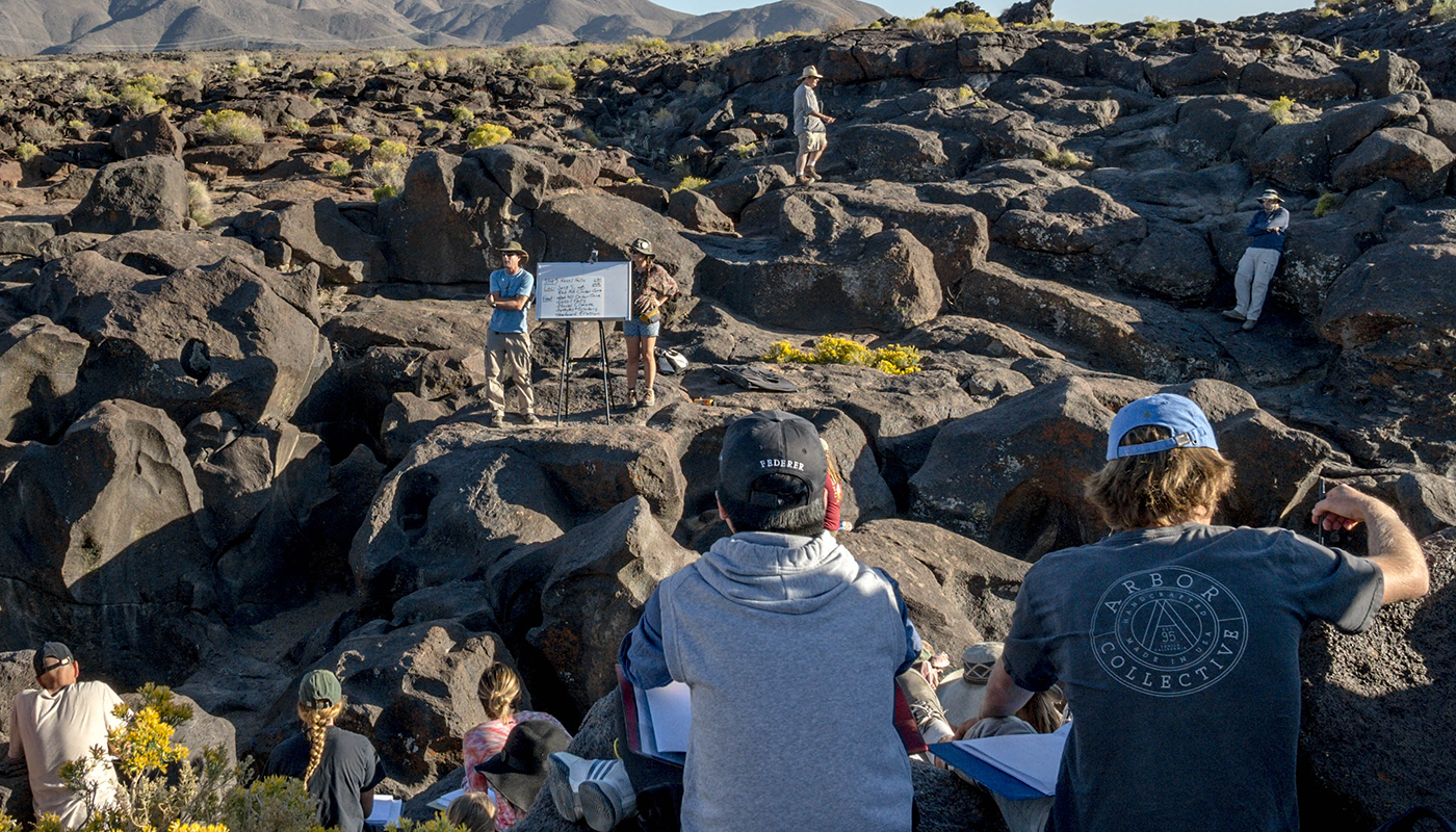 SBCC Earth and Planetary Science students studying outdoors