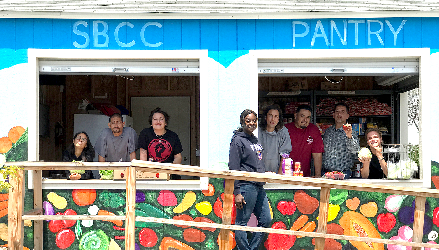 SBCC's food pantry with staff and students waiting to give out free food.