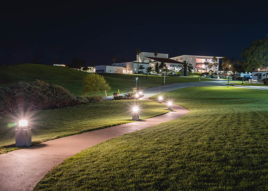 Santa Barbara City College's evening college at night.