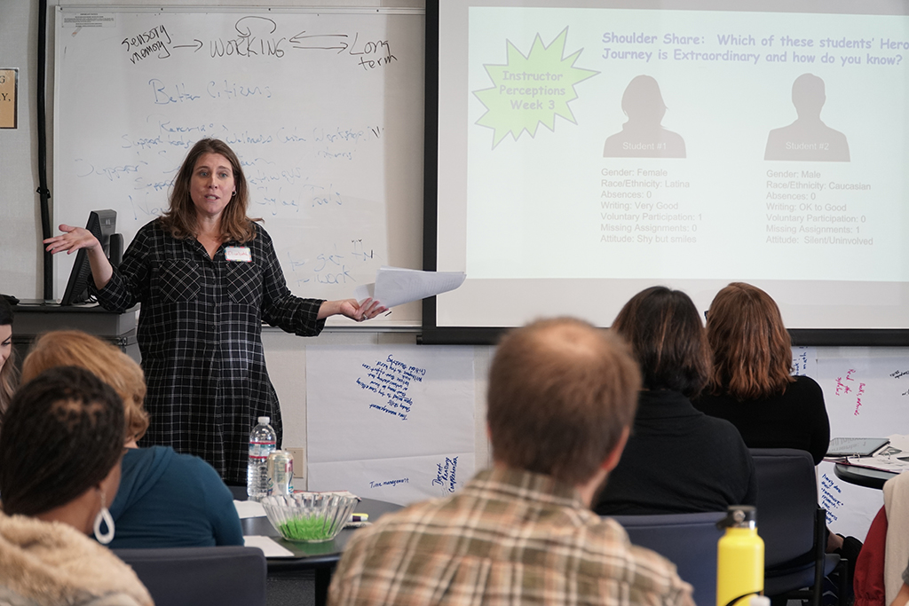 photo of Dr.Elizabeth Imhof, FRC, presenting to ALI workshop participants.