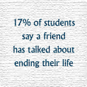 17 percent of students say a friend has talked about suicide