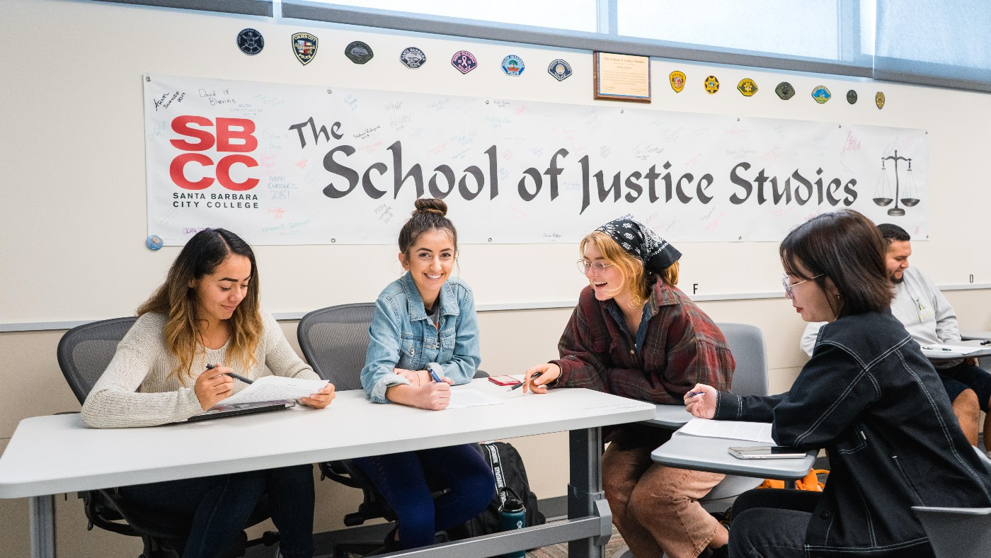 Santa Barbara City College students in a School of Justice Studies class.