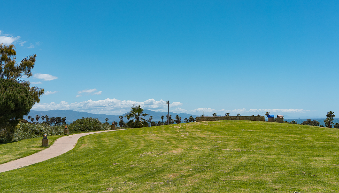 Santa Barbara City College's grassy lawn overlooks the ocean.