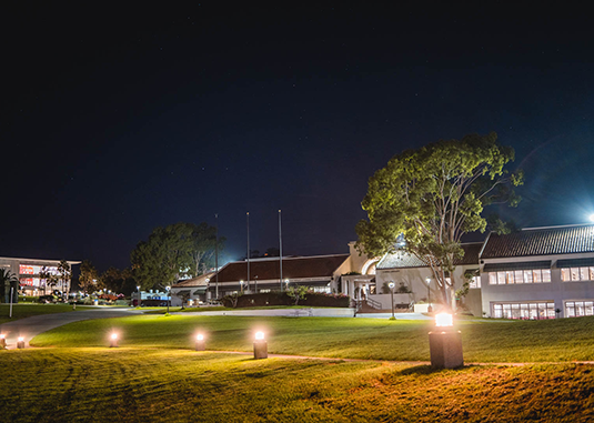 SBCC's college campus at night.