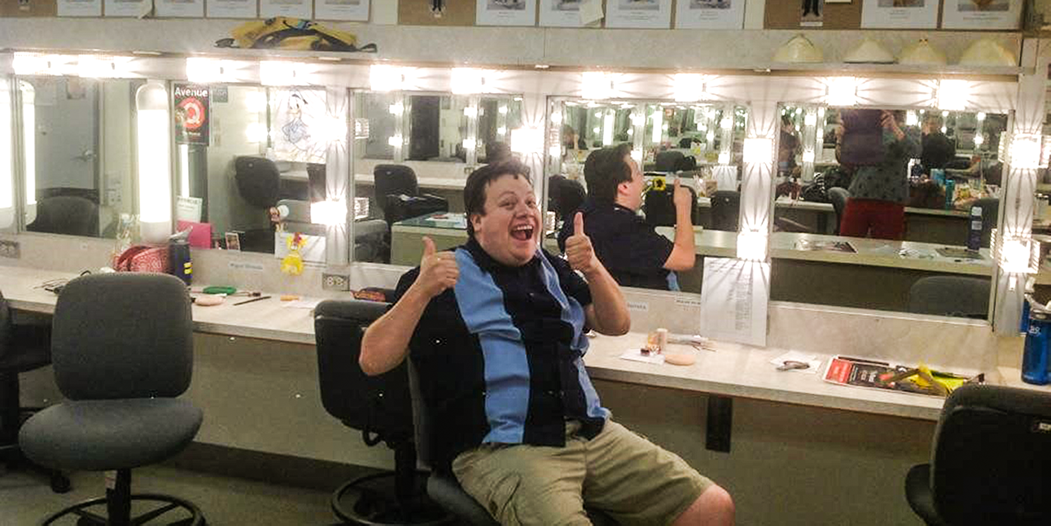 Daniel in the SBCC Dressing Room Preparing for Avenue Q